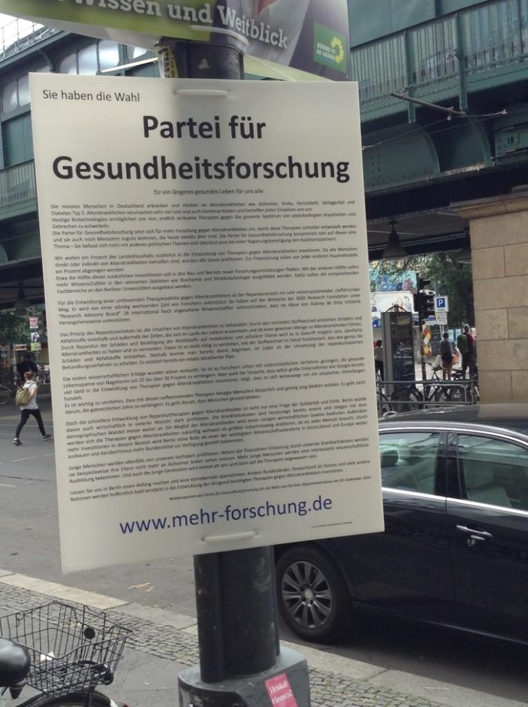 partei für gesundheitsforschung, mehr forschung, berlin, wahlen 2016