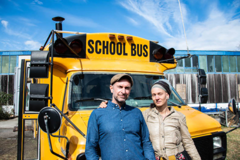 Schulbus, USA, Hit the Road, Kai Banss, Julie Troebel
