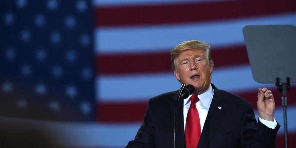 President Trump speaks in front of crowd