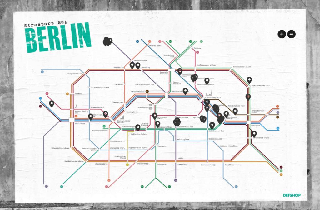Streetart Map, Berlin, Defcom Shop
