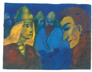 Herrin und Fremdling, o. D. (wahrscheinlich Vorlage für das Gemälde Nordische Menschen, 1938), Aquarell, 17,1 × 22,5 cm, Nolde Stiftung Seebüll, © Nolde Stiftung Seebüll, Foto: Dirk Dunkelberg, Berlin
