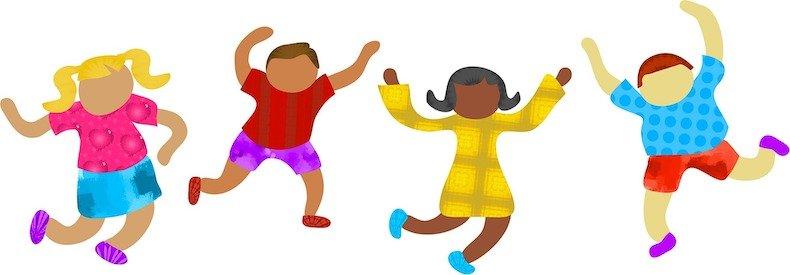 Kinder, tanzen, bunt, Vielfalt