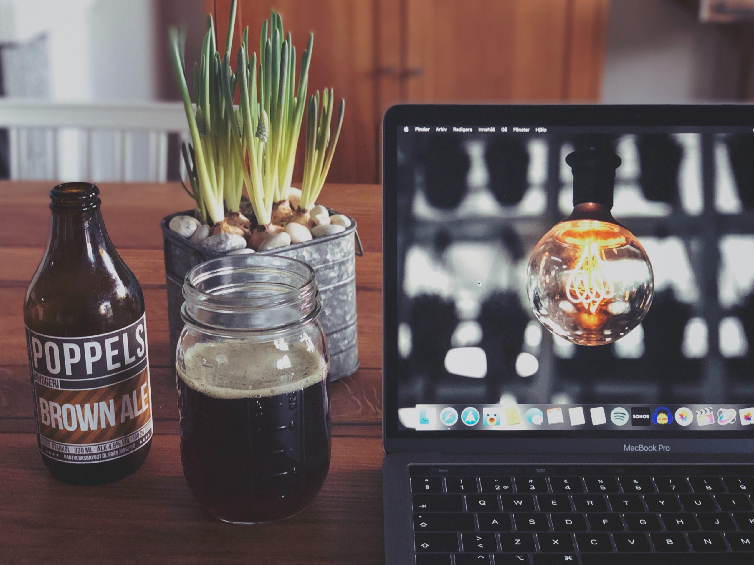Beer, laptop, online bar, bar